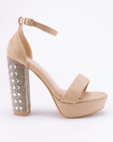 Miss Black Pola Platform Sandals Nude