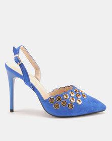 Miss Black Mekhi Slingback Heels Blue