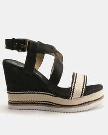 Miss Black Rabia Wedge Sandals Black