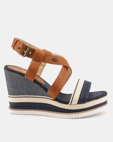 Miss Black Rabia Wedge Sandals Blue