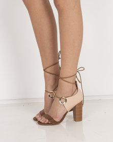 Miss Black Adamina Heeled Sandals Tan / Pink