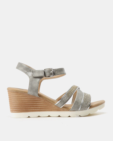 Butterfly Feet Courtney Strappy Wedge Sandals Grey