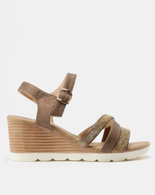 Butterfly Feet Courtney Strappy Wedge Sandals Taupe