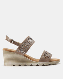 Butterfly Feet Lea Trim Mid Wedge Sandals Grey
