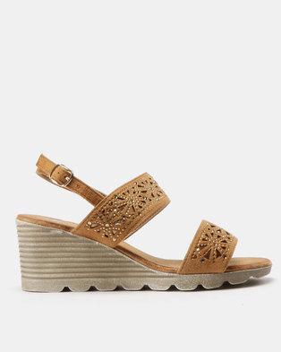 07ad6cf9a3d8 Butterfly Feet Lea Trim Mid Wedge Sandals Tan
