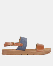 Butterfly Feet Mila Flat Sandals Blue/Tan