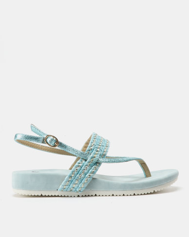 Butterfly Feet Lysa Metallic Sandals Turquoise