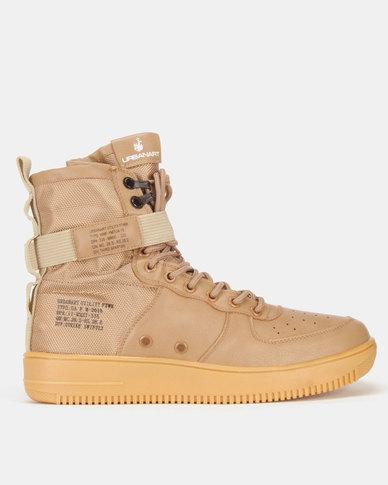 8d69e4569d9 Urbanart Force 2 Wax/Nyl Hi-Top Sneakers Tan   Zando