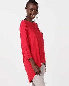 Miss Cassidy By Queenspark Hi- Lo Knit Top Red