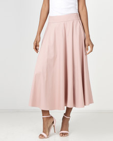Miss Cassidy By Queenspark Sateen Plain Woven Skirt Pink