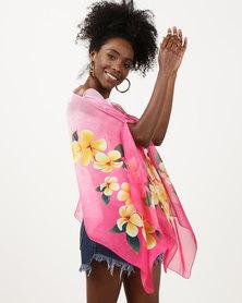 Queenspark Multi Flower Print Chiffon Kaftan Pink/Colour