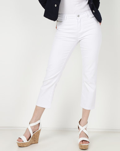Queenspark Core Program Woven Denim Capri Pants White