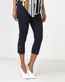 Queenspark Zig Zag Woven Capri Trousers Navy