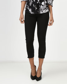 Queenspark Ruffle Trim Woven Denim Capri Black