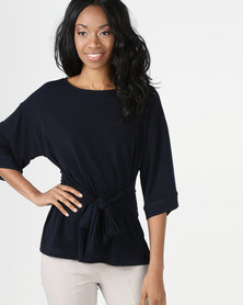 cath.nic By Queenspark Kimono Styled Knit Top Navy