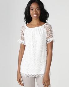 cath.nic By Queenspark Lace Knit Top White