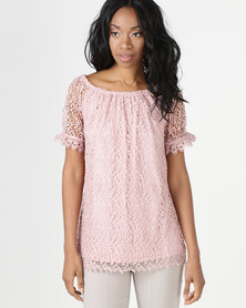cath.nic By Queenspark Lace Knit Top Pink