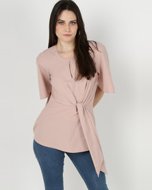 cath.nic By Queenspark Kimono Styled Knit Flowing Woven Top Pink