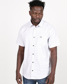 JCrew Fancy Print Short Sleeve Shirt White
