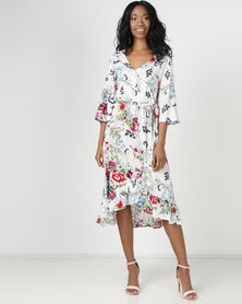 Slick Jean-Wrap Styled Dress Gardenia Multi