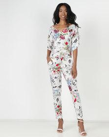 Slick Cara - S/Sleeve Printed Jumpsuit Gardenia Multi