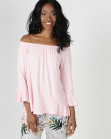 Slick Jessica-Boho Styled Top Blush Pink