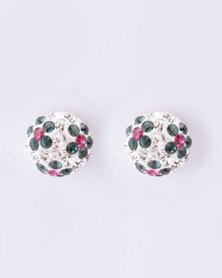 Silver Bird Half Dome Crystal Ball with Flower Stud Earrings Sterling Silver