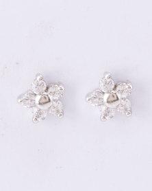 Silver Bird Cubic Zirconia Flower Stud Earrings Sterling Silver