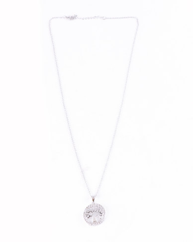 Lily & Rose Cubic Zerconia Tree Of Life Necklace and Earring Set Silver-tone