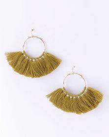 Lily & Rose Tassel Hoop Earrings Khaki