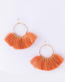 Lily & Rose Tassled Hoop Earrings Rust