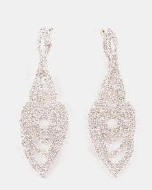 Adoria Rhinestone Chandelier Drop Earrings Silver-Toned