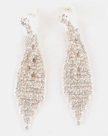 Adoria Statement Rhinestone Drop Earrings Silver-tone