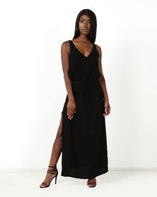 Sitting Pretty Calabria Ladder Lace Inset Relaxed Midi Dress Black