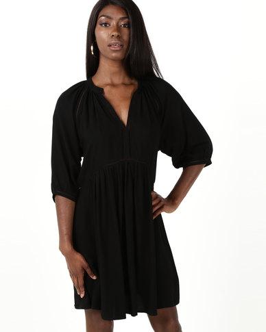 Sitting Pretty Inhaca V-Neck Low Back Dress With Side Slits Black