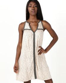 Sitting Pretty Manica Split Neck Dress Black Print On Beige