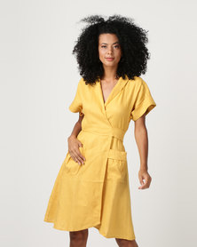 Sitting Pretty Gili Short Sleeve Wrap Dress Dijon