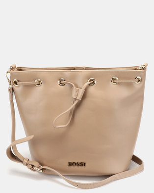 e3cda9629ffe Bossi Gabuc Drawstring Bucket Cross Body Bag Beige