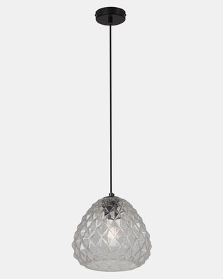 Eurolux Colmar Pendant Black & Clear Glass