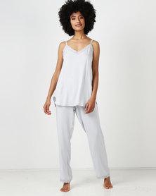 Lila Rose Woven Cami And Long Pant PJ Set Grey