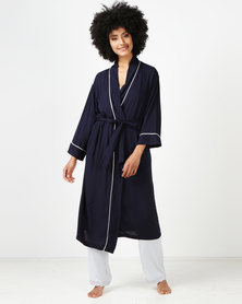 Lila Rose Long Woven Gown Navy