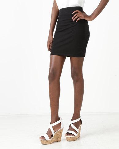 New Look Cotton Mix Mini Tube Skirt  Black