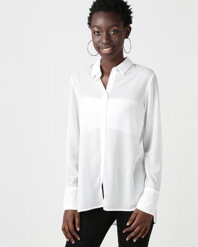 New Look Chiffon Long Sleeve Shirt White
