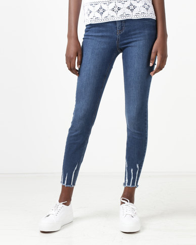 New Look Distressed Ankle Grazer Skinny Jenna Jeans Blue
