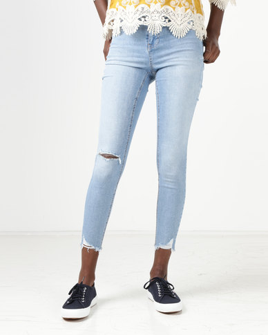 New Look Ripped Fray Hem Skinny Jenna Jeans Pale Blue