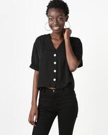 New Look V-Neck Boxy Shirt Black