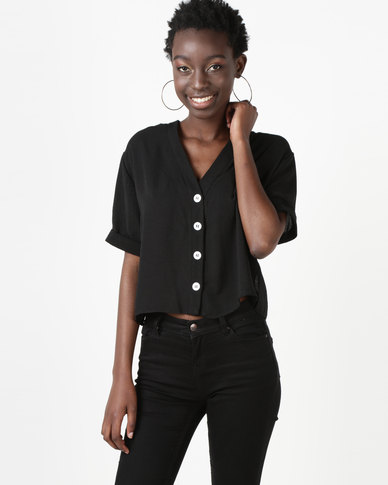 New Look V-Neck Boxy Shirt Black