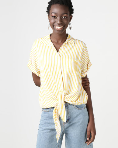 New Look Stripe Tie Front Shirt Yellow