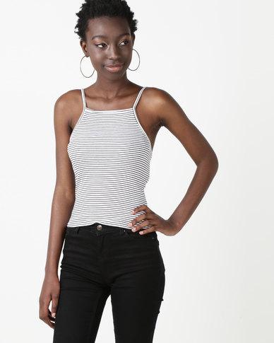 New Look Square Neck Cami White Stripe