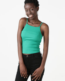 New Look Square Neck Cami Green